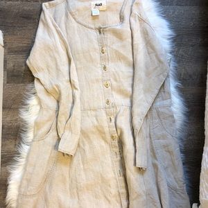 Flax Dresses - Flax Linen oversized dress with pockets
